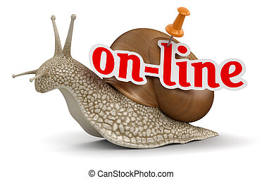 On-line Snail  - On-line Snail. Image with clipping path