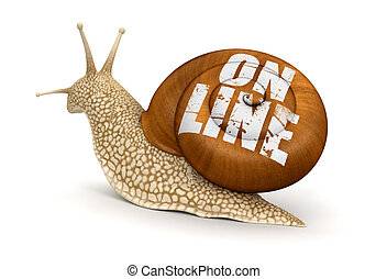 On-line Snail. Image with clipping path