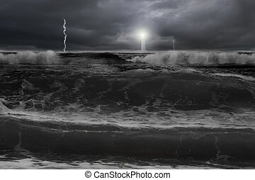 Dramatic ocean, dark cloudy sky with lightning lighthouse in front of, dangerous situation