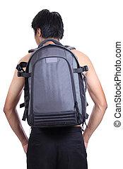 macho, mochila, espalda, joven,  Torso, lado, hombre