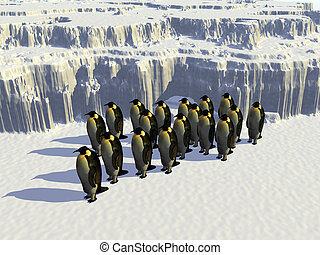 Ice world - A ice landscape with some penguins on it