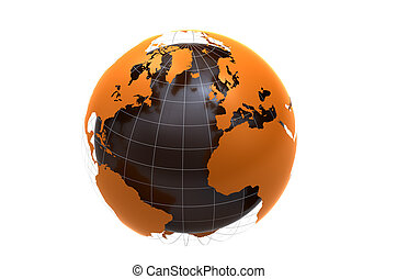 orange globe on white background - 3d orange globe isolated...