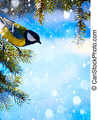 Art Christmas card with tits on the Christmas tree and snow...