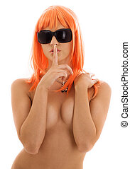 hush - topless girl in shades with finger on lips