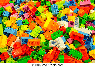 toy blocks - heap of colored toy blocks