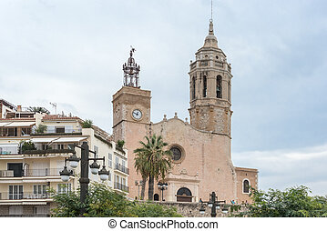 Church of Sant Bartomeu and Santa Tecla in Sitges, Spain -...