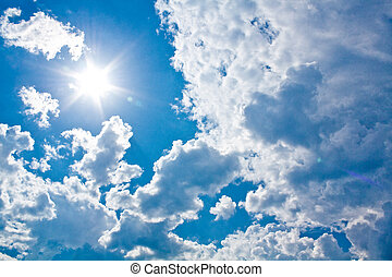 Sun against clouds - Sun is coming out of the clouds