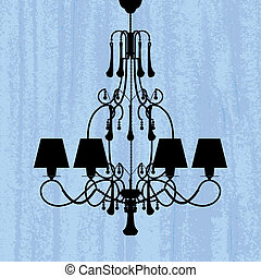 silhouette of luxury chandelier on a scratched blue...