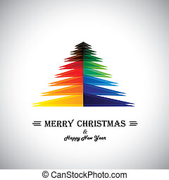 Colorful abstract merry christmas card & xmas tree - concept...