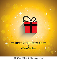 Merry christmas greeting card poster with gift icon -...