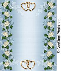 Wedding invitation Ivy, Peony border