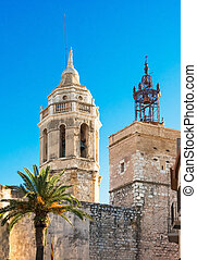 Church of Sant Bartomeu & Santa Tecla in Sitges, Spain -...