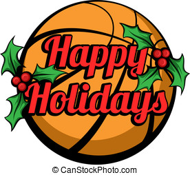 Basketball Happy Holidays Stacked - Vector illustration...