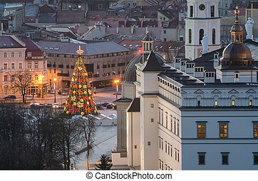 Christmas tree in Vilnius,Lithuania - Christmas tree in...