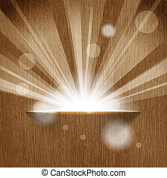 sun on wooden background  with copy space