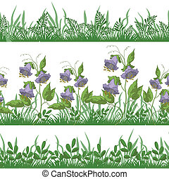 Grass and flowers, set seamless