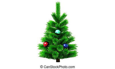 Christmas tree rotating on white background, seamless looped...