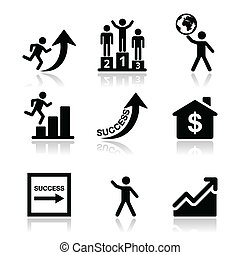 Success in business icons set