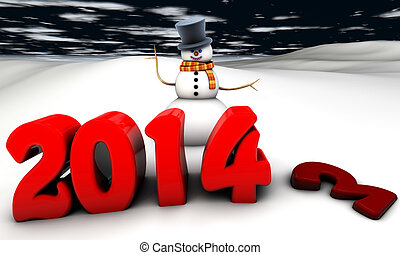 Snowman 2014 - scene with snowman greeting the new year 2014...