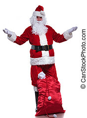 full body picture of santa claus welcoming