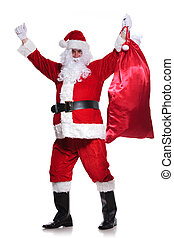 santa claus is winning you a big bag of gifts on white...