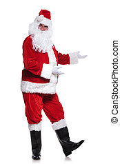 full body picture of santa claus presenting