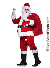 full body picture of santa claus sounding his bell
