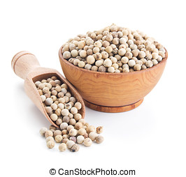 white peppercorn isolated on white background