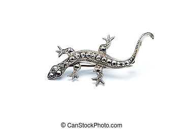 Lizard brooch - Handcrafted antique brooch in the shape of a...