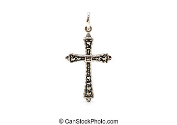 Marcasite cross - Antique silver cross with marcasite for on...
