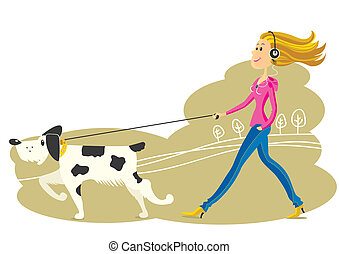 Young Woman walking the dog Vector illustration