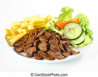 Döner macht schöner - Plate of grilled beef nuggets, fried...