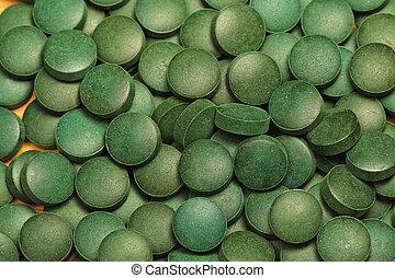 Spirulina - Natural organic green algae Spirulina tablets