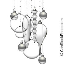Christmas background - Glass Christmas baubles on white...