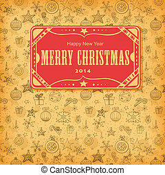 Christmas seamless pattern - Red paper label on hand- drawn...