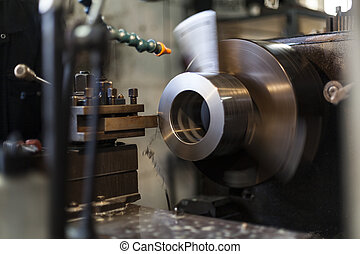 Heavy Industry - Industrial metal milling spinning in heavy...