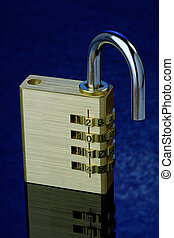 New Year Padlock 2014 Open - Close up of an open combination...