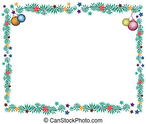 Four Christmas Balls Decoration on Fir Twigs Border -...
