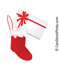 A Lovely Red Christmas Stocking with Greeting Card - Red...