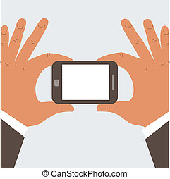 Businessman holding mobile phone with blank screen 1