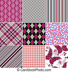 Set seamless colorful vintage pattern