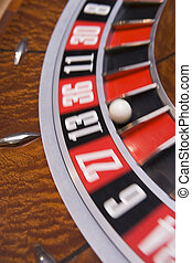 Roulette game wheel close upblur