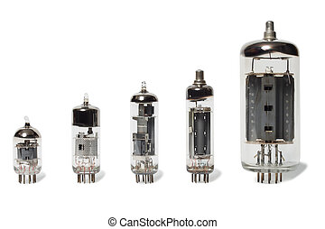 Vacuum tubes - Set of old vacuum tubes on white background.