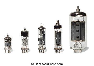 Vacuum tubes - Set of old vacuum tubes on white background.