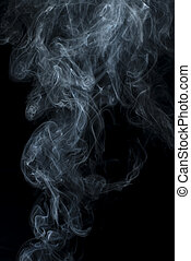 Smoke on black background. Swirls and art