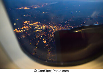 Night view Out Of Airplane Window