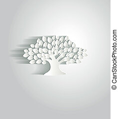 Paper tree - Beautiful white paper tree with shadow, simple...