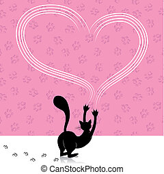 Valentine day cat scratching heart wall with animal paw...