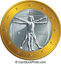 vector Italian money gold coin one euro (Vitruvian Man) -...