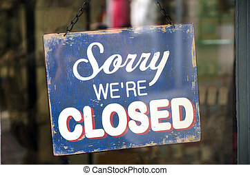 Vintage closed sign in a shop window